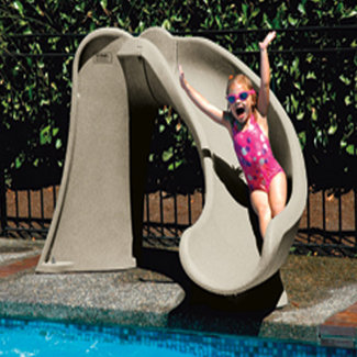 Details about S.R. Smith Right Curve Cyclone Inground Swimming Pool  Slide-Taupe 698-209-58110