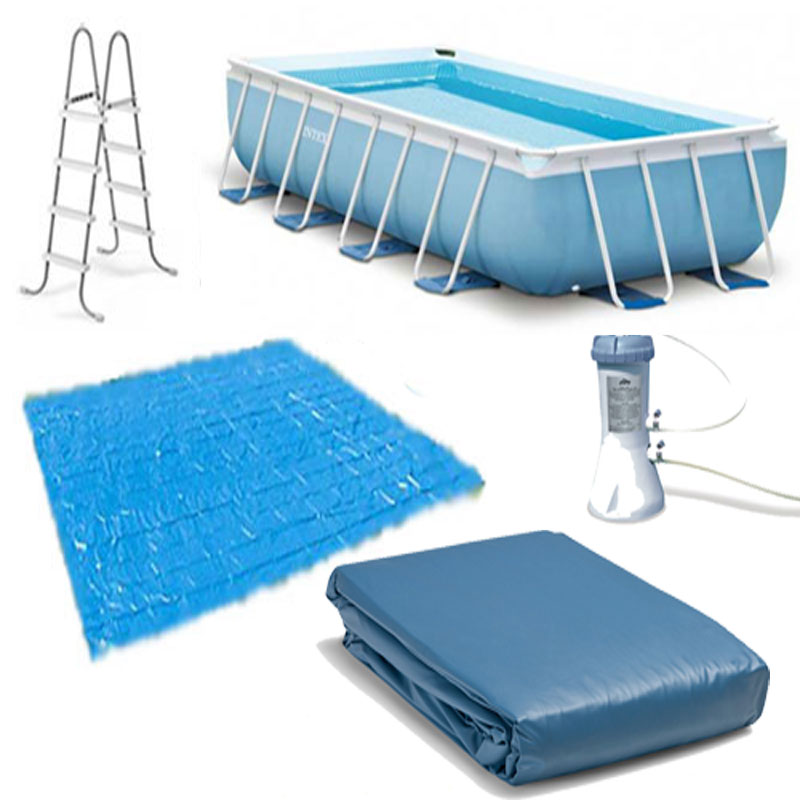 Intex 16ft X 8ft X 42in Rectangular Prism Frame Pool Set With Filter Pump